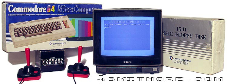 Commodore 64, WICO Joysticks, SONY KV-1412 and 1541 Floppy Disk